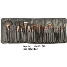 21pcs black plastic handle animal/nylon hair brass ferrule makeup brush tool set with black Stitching Pu leather case
