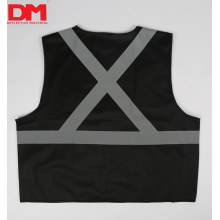Black High Visibility Safety Vest X Pattern Back