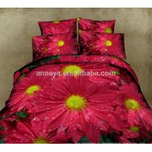 100% Хлопчатобумажная Ткань Текстиль Комплект постельного белья Комплект 3D Disperse Печатный цветочный