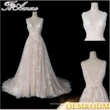 Tiamero персикового цвета партии вина глубокий V спинки свадебные платья вечернее платье мяч
