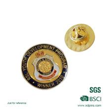 Badge en émail souple en métal de forme ronde avec résine (xd-09045)