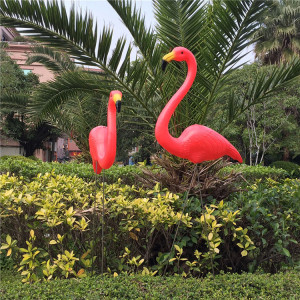 Garden Decoration Artificial Red/Pink Flamingos Courtyard Landscape Ornament Bird Yard Lawn Plastic Animal Decoration