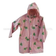 Rana de color de rosa con capucha impermeable de la PU