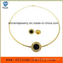 Shineme conjunto de joyería de moda de acero inoxidable oído con collar de perlas (ERS6889)