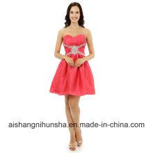 A-Line Sweetheart corto mini satén con cuentas cristales cóctel vestidos de baile