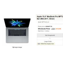 """Apple 15.4"""" MacBook Pro MPTU2LL/A with Touch Bar (Mid 2017, Silver)"""