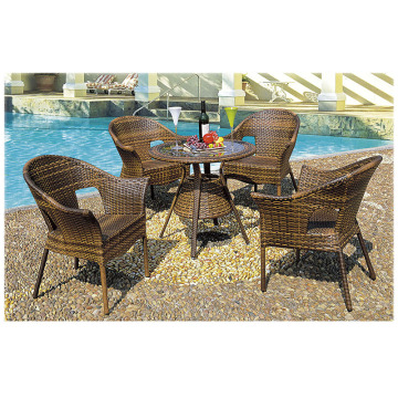 Rund Glass Outdoor Fritid Rattan Dining Set
