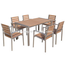 Outdoor garden aluminum furniture sets plastic wood bench long chairs in public