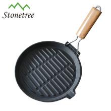 Frigideira redondo do ferro fundido do óleo vegetal quente da venda com punho dobrável