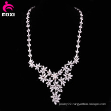 Luxury Flower White Gold Filled Necklace for Wedding