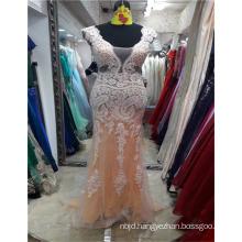 2017 Suzhou Sexy Alibaba Sleeveless Organza Design Lace Appliqued Arabian Stylish Evening Dresses