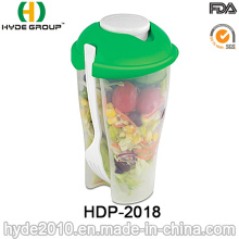 Taza plástica de alta calidad de la coctelera de la ensalada con la bifurcación (HDP-2018)