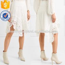 Linho de renda branca assimétrica e algodão verão maxi saia fabricação atacado moda feminina vestuário (ta0008s)