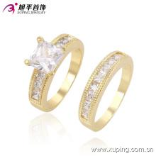 Hot-Sale Moda De Luxo De Noiva Conjunto De Jóias De Ouro Casal Anel Redondo Com Cristal 13508