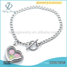 Simple design plain silver heart chain bracelet,316l custom open locket bracelet