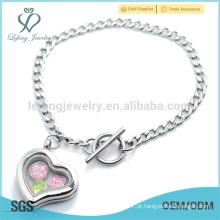 Simples design prata simples coração pulseira de cadeia, 316l personalizado abrir pulseira locket