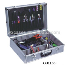 Silber Aluminium Tool Case mit Fold-Down-Tool-Palette & verstellbare Fächer innen