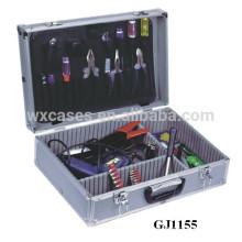 Argent palette d'outil de cas d'outil en aluminium avec rabattables & réglable compartiments à l'intérieur