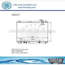 Radiator For TOYOTA 1640020240 Highlander 01-02 Manufacturer and Direct Sale