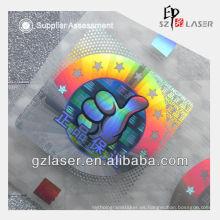 Película de estampado en caliente PET con patrón de holograma para anti-falsificación