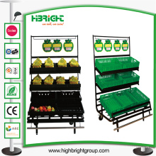 Supermercado banana Display Rack com bandeja de banana