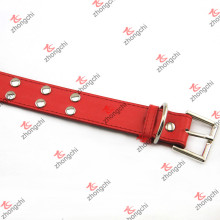 Collar de cuero Collor del cuero del remache de la manera con la venta al por mayor llana de la hebilla (PC15121408)