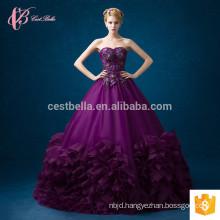 hot sale women maxi lace patterns purple chiffon off-shoulder formal long evening dress