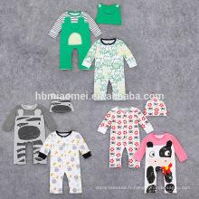 Printemps automne nouveau design à manches longues coton 3 pcs ensemble bébé imprimé barboteuse pour nouveau-né