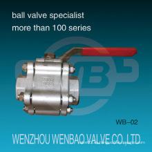 Válvula de bola de acero inoxidable de alta presión de tres piezas