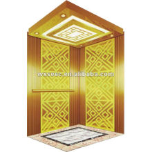 Luxurious Gold Machine Roomless (MRL) Passenger Elevator