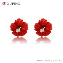 Xuping 14k plaqué or fleur charmante CZ diamants boucles d'oreilles bijoux -91786