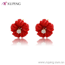 Xuping 14k Gold-Plated Charming Flower CZ Diamond Jewelry Earring Studs -91786
