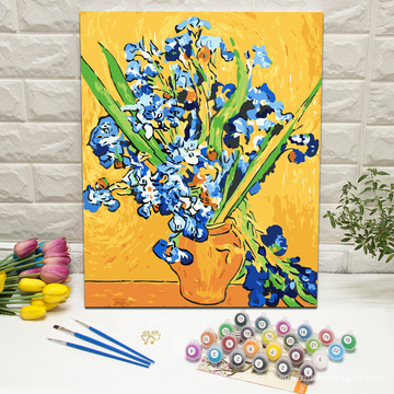 Masterpiece irises by van gogh DIY wall art paint by numbers on framed canvas