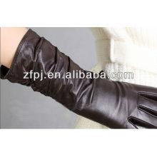 Luvas de couro marrons longas do inverno das mulheres quentes da venda 2014