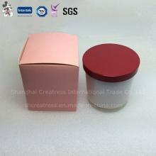 Bougie parfumée en verre rond opaque avec couvercle en métal