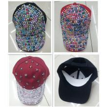 Mode angepasste Strass Kristall 6-Panel-Baseball Mütze Hut