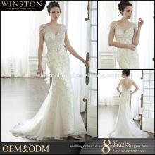 De alta calidad Cap manga perlas decoración sirena vestido de novia