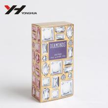 estilo diamante y gema bilingüe brillante rosa brillante caja de papel de perfume