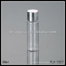 Botellas de tapa de rosca de plástico de 20 ml, tapa de plata, uso de botellas de PET para cosmética o medicina