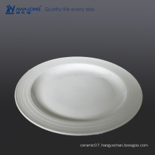 Large Size Bone China Raw Material White Wavy Dinner Plates, Bulk Ceramic Plates