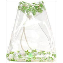 Transparent plastic bag with drawstring