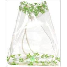 Saco de plástico transparente com cordão