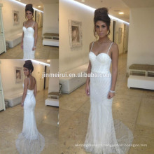 2015 Sexy Luxurious Spaghetti Straps Sweetheart Beading Backless Beach Vintage Bridal Wedding Dress