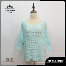 Women Blue Half Sleeve Loose Sweater