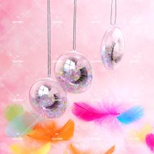 Hangable Clear Lash Packaging Case Party Feather Cute Girly Pink 10D Faux Mink Eyelashes Own Logo Lollipop Branding Box Minimum