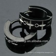 Горячие серьги обручальные серьги ювелирных изделий способа сбывания Huggie черные HE-102