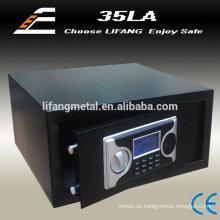 Casa armario seguro pequeño, caja de seguridad electrónica, seguro de hotel con pantalla de tiempo