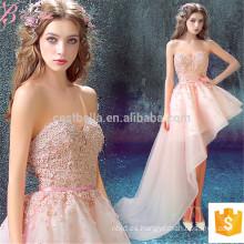Heavy Appliqued Asymmetrical Rosa Off-Hombro Corto Sexy Alibaba Evening Dress