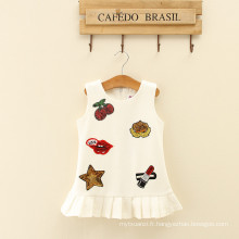 blanc adorable enfance fleurs modèle enfants adorable robes adultes naïf à volants robes femme vêtements