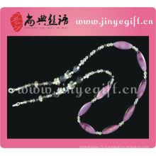 Lanière de lunettes rose de perle de cristal de Shell de mode de bijoux